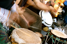 A group drumming.